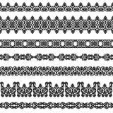 Set of borders. Set of black borders isolated on white Stock Image