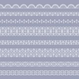 Set of borders. Set of white borders isolated on a gray background Stock Image