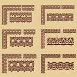 Set of borders. Set of unique borders in tribal style, also contains corner elements Stock Photos