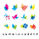 Set of 12 botanical icons. Royalty Free Stock Image