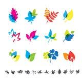 Set of 12 botanical icons. Royalty Free Stock Image