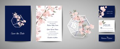 Botanical retro wedding invitation card, vintage Save the Date, template design of sakura flowers and leaves, cherry stock illustration