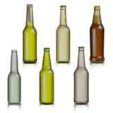 Set of bottle of beer  isolated on white background Stock Photos