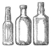 Set bottle for beer, whiskey, tequila. Vector engraved illustration  on white vintage background Royalty Free Stock Photo