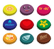 Set of bottle caps Stock Photo