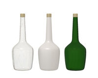Set of 3 bottle glass isolated on white background with clipping. Set of transparent, white and green glass bottle and gold cap isolated on white background with Royalty Free Stock Photography
