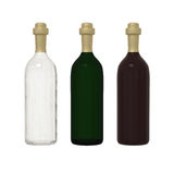 Set of 3 bottle glass isolated on white background with clipping. Set of transparent, green, red wine  glass bottle and gold cap isolated on white background Royalty Free Stock Photography