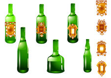 Set of bottle and label Stock Photography