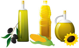 Set of bottle oil. Olive, maize, sunflower Stock Photos