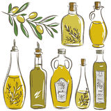 Set of bottle for olive oil, vector Royalty Free Stock Images