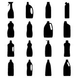 Set of bottle silhouettes of cleaning products Royalty Free Stock Photo