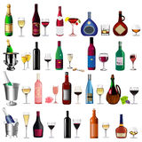 Set bottle wine and goblet on white Stock Images