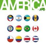 Set 12 bottlecap flaga Ameryka A.C. Set 1 3 Zdjęcie Royalty Free