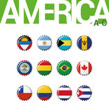 Set 12 bottlecap flaga Ameryka A.C. Set 1 3 ilustracja wektor