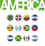 Set 12 bottlecap flaga Ameryka D-N Set 2 3 Zdjęcia Royalty Free