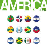 Set 12 bottlecap flaga Ameryka D-N Set 2 3 ilustracja wektor