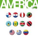 Set 12 bottlecap flaga Ameryka P-V Set 3 3 royalty ilustracja