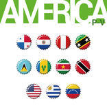 Set 12 bottlecap flaga Ameryka P-V Set 3 3 Zdjęcie Royalty Free