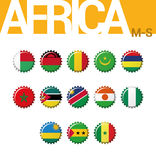 Set of 13 bottlecap flags of Africa M-S. Set 3 of 4. Vector Illustration Stock Photography