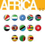 Set of 13 bottlecap flags of Africa S-Z. Set 4 of 4. Stock Image