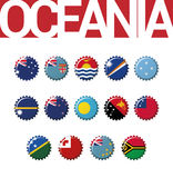 Set of 14 bottlecap flags of Oceania. Vector Illustration Royalty Free Stock Images