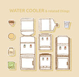 Set of bottled water coolers Royalty Free Stock Images