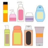 Set of bottles for the bath. Cosmetics. Personal hygiene. Stock Image