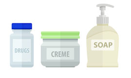 Set of bottles for bath soap and cream Royalty Free Stock Photo