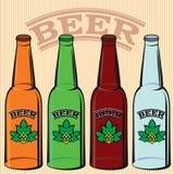 Set of bottles of beer. Vector set of bottles of beer. light, dark Stock Photography