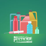 Set of bottles with chemicals for gardening, agriculture vector illustration Stock Image