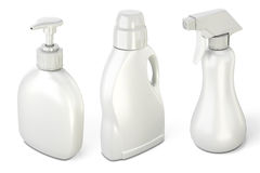 Set of bottles with detergents Royalty Free Stock Image