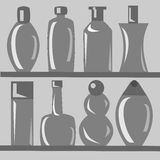 Set of Bottles. Different kinds of bottles on the shelf stock illustration