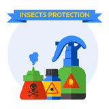 Set bottles with different poisons bats flying spider crawling around death insects protection vector. Royalty Free Stock Photography