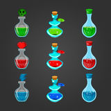 Set bottles with different potions-2 Royalty Free Stock Image