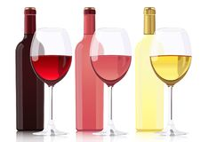 Set of bottles of different types of wines. Bottle of red wine, bottle of rose wine, bottle of white wine and glass. Goblets with wines. Vector realistic Royalty Free Stock Photography