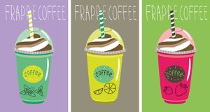 Set of bottles frappe coffee with tube Stock Photo
