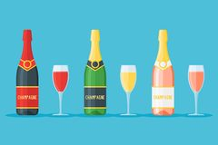 Set of bottles and glasses of champagne. Red, white and rose sparkling wines. Set of bottles and glasses of champagne isolated on blue background. Red, white Stock Photos