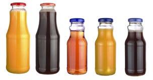 Set of bottles of juice Stock Photos