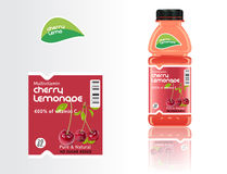 Set of bottles juice and labels Royalty Free Stock Photography