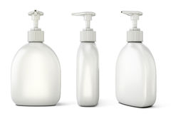 Set of bottles with liquid soap from different types Stock Photo