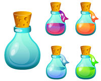 Set bottles with magic spells Royalty Free Stock Photography