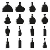 Set of bottles silhouettes Stock Photography