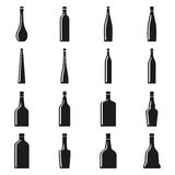 Set of bottles silhouettes Stock Images