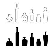 Set of bottles silhouettes Royalty Free Stock Image