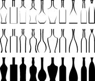 Set of bottles  stencils and silhouettes Royalty Free Stock Photography