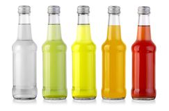 Set of bottles with tasty drink. Isolated on white Royalty Free Stock Photos