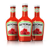 Set of bottles with tomato ketchup Royalty Free Stock Photos
