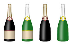 Set of bottles for wine and champagne Stock Photos