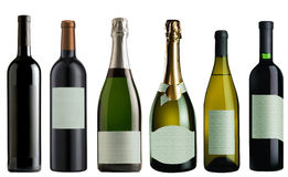 Set of Bottles of wine and champagne royalty free stock photos