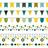 Set of bounting flags, stars and circles decorative elements on white background. Collection for birthday greeting cards. And scrapbooking. Vector illustration Stock Photography